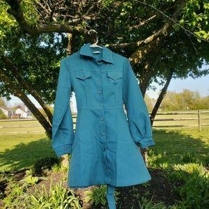 Vintage 1960s deep teal blue dress!